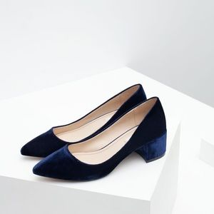 New zara velvet block heel